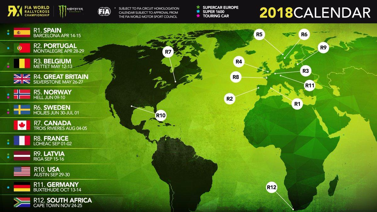 Calendario del Mundial de Rallycross 2018