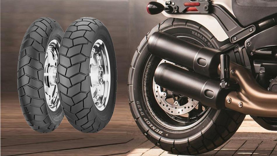 Harley Davidson Fat Bob y Fat Bob S con neunáticos Dunlop