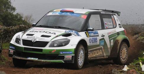 Kopecký, Lappi y Wiegand con Skoda en el Barum Rally