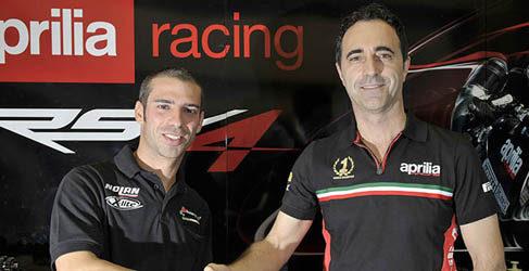 Marco Melandri y Sylvain Guintoli, los hombres Aprilia